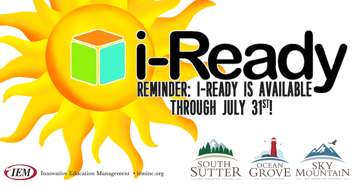 Reminder: i-Ready is available through July 31st!